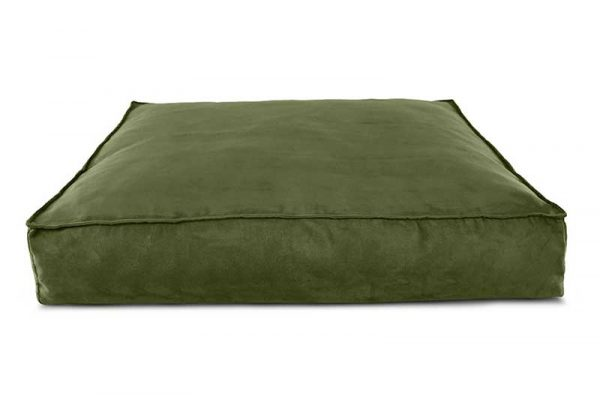 front view of olive green titan acropolis dog bed
